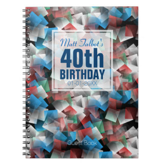 Cubist Abstract 40th Birthday Guest Book 1a Spiral Note Book