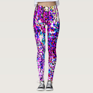 CUBIST ABSTRACT IN FUCSHIA TURQUOISE AND WHITE LEGGINGS