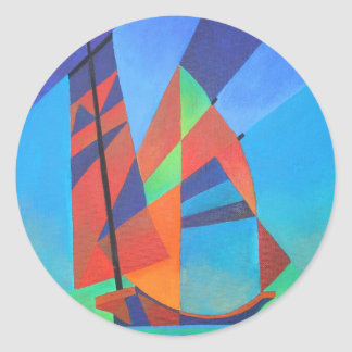 Cubist Abstract Junk Boat Against Deep Blue Sky Classic Round Sticker