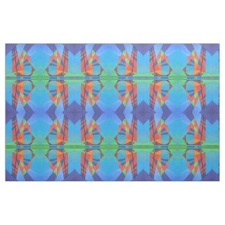 Cubist Abstract Junk Boat Against Deep Blue Sky Fabric