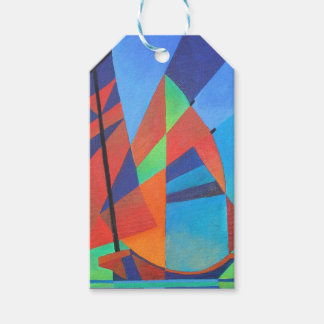 Cubist Abstract Junk Boat Against Deep Blue Sky Gift Tags