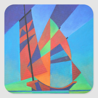 Cubist Abstract Junk Boat Against Deep Blue Sky Square Sticker