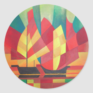 Cubist Abstract of Junk Sails and Ocean Skies Classic Round Sticker