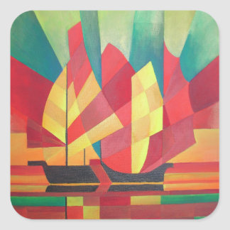 Cubist Abstract of Junk Sails and Ocean Skies Square Sticker