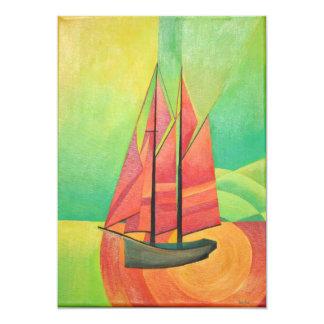 Cubist Abstract Sailing Boat 13 Cm X 18 Cm Invitation Card