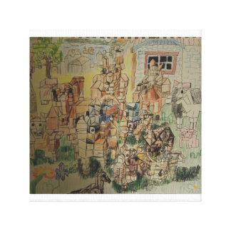 Cubist Barn Animals Canvas Print