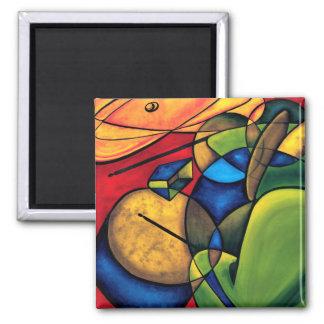 Cubist Drummer Refrigerator Magnet
