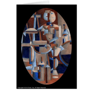 Cubist Figure Rendering Greeting Card