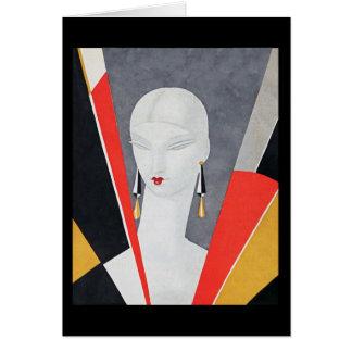 Cubist Woman's Head Art Deco by Eduardo Benito Card