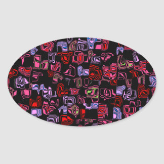 Cuckoo Abstract Oval Sticker