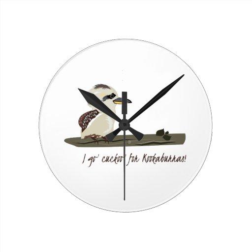 Cuckoo Kookaburras Round Clock