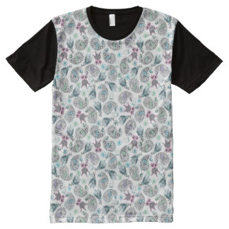 Cucumber floral motive All-Over print T-Shirt