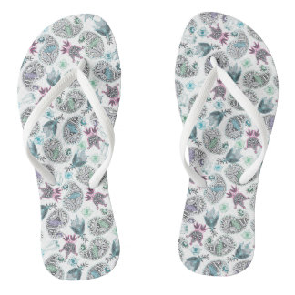 Cucumber floral motive thongs