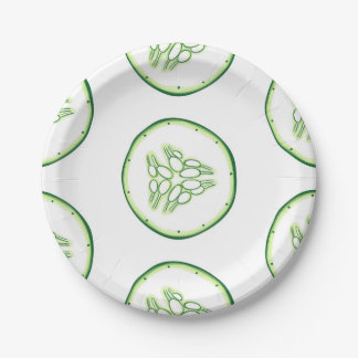 Cucumber slices pattern 7 inch paper plate