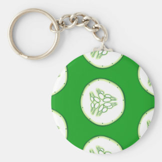 Cucumber slices pattern key ring