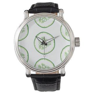 Cucumber slices pattern watch