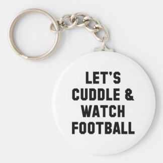 Cuddle And Football Basic Round Button Key Ring