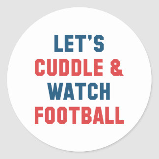 Cuddle And Football Classic Round Sticker