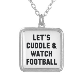 Cuddle And Football Silver Plated Necklace