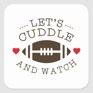 Cuddle And Football Square Sticker