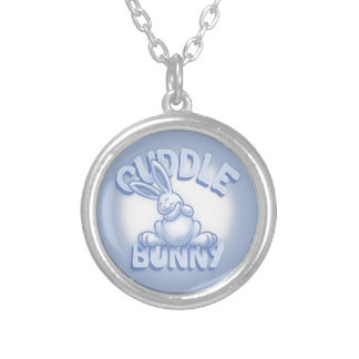 Cuddle Bunny -blue Silver Plated Necklace
