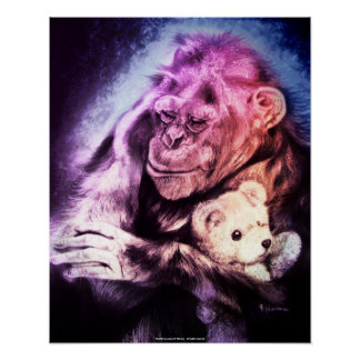 """Cuddle"" Chimpanzee Holding a Teddy Bear Poster"
