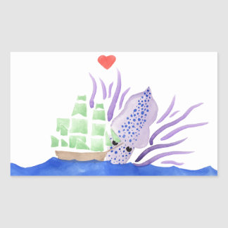 Cuddles the Kraken Rectangular Sticker