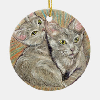 Cuddling cats by Carol Zeock Ceramic Ornament