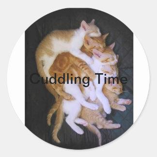 cuddling cats classic round sticker