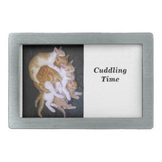 cuddling cats rectangular belt buckles