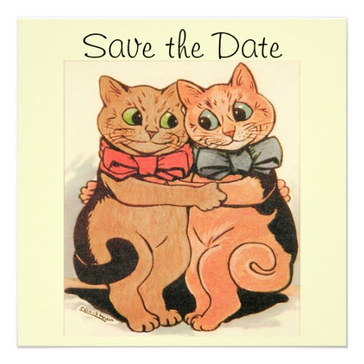 Cuddling Cats Save the Date Card Announcement