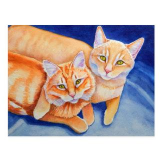 Cuddling Orange Tabby Cats Postcard