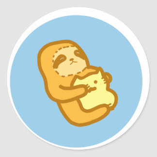 Cuddling Sloth Round Sticker