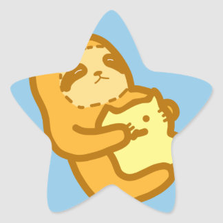 Cuddling Sloth Star Sticker