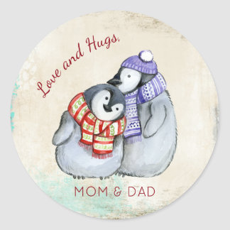 Cuddlong Penguins Christmas Custom Classic Round Sticker