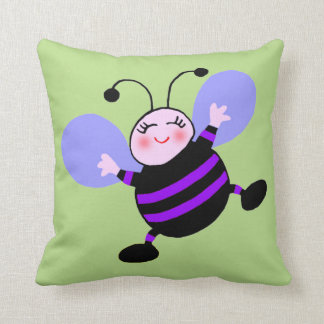 Cuddly Baby Bee Cartoon Personalized Nursery Throw Pillow