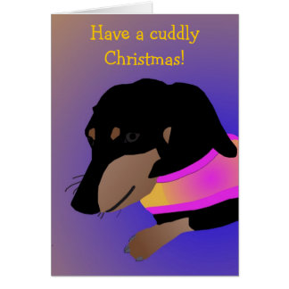Cuddly Dachshund Christmas Card