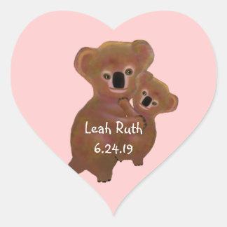 Cuddly Koala Baby Heart Sticker
