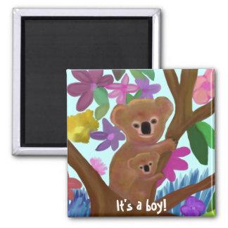 Cuddly Koala boy birth announcement Fridge Magnets