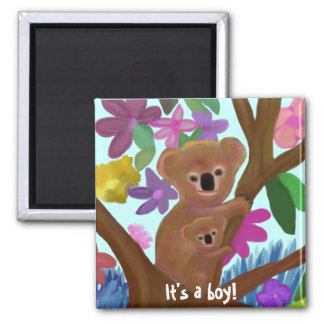 Cuddly Koala boy birth announcement Square Magnet