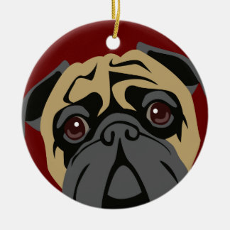 Cuddly Pug Ceramic Ornament