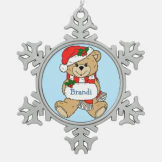 Cuddly Teddy Bear Personalized Christmas Snowflake Pewter Christmas Ornament