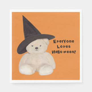 Cuddly Teddy Bear Wearing a Black Witch Hat Paper Napkins