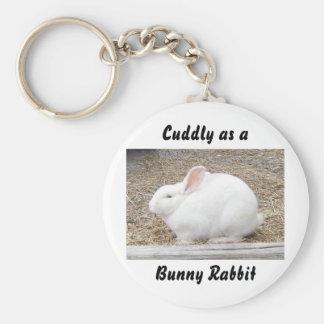Cuddly White Bunny Basic Round Button Key Ring