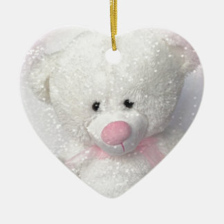 Cuddly White Teddy Bear Ceramic Heart Decoration