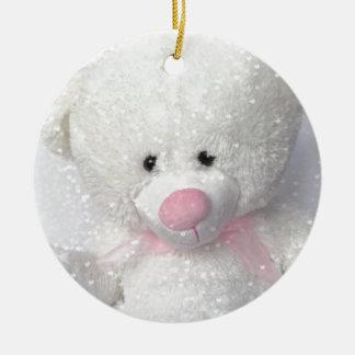 Cuddly White Teddy Bear Round Ceramic Ornament