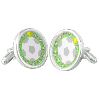Cuff-links with Green & White Striped Shirts Cufflinks