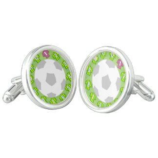Cuff-links with Green & Yellow Striped Shirts Cuff Links