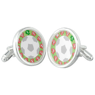 Cuff-links with Red & White Striped Shirts Cuff Links