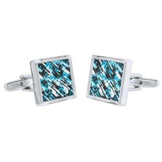 Cufflinks Hot Blue Black abstract digitalart G253 Silver Finish Cufflinks